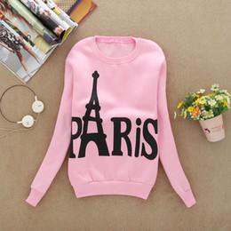 Wholesale Eiffel Tower Hoodie - Wholesale- bts hoodies Women Modern Ladies Long Sleeve Printed Eiffel Tower harajuku Pullover kawaii Casual Sweatshirts Blouse Tops unicorn