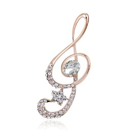 Wholesale Grade Wholesale Stainless Steel Jewelry - Wholesale- Christmas Broochs 2016 Music Glass Rhinestone Jewelry Pins For Badges Alloy High-grade Scarf Clip Brooches For Women
