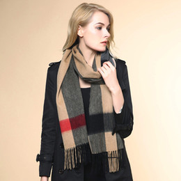 Wholesale Oversized Knitted Scarf - Wholesale- 2016 Winter Plaid 100% Cashmere Scarf Women Oversized Double Knit Warm men Shawls Check Blanket Ponchos and Capes size 220*40cm