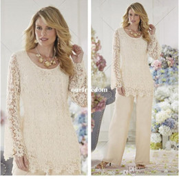 Wholesale white high collar blouse - Weddings & Events New XL size can be customized, beige lace blouse, chiffon pants, two sets, mom outfit suit, cheap mail