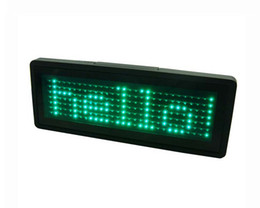 Wholesale Led Scrolling Sign Green - Green LED name badge sign board scrolling advertising business card show display support English,EU languages Pixel 7X29
