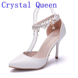 0b83fd9e62dc7 Crystal Queen Woman Fringed Shoes White High Heel Platform Ankle Satin sandals  Women s Wedding Bridal Prom Dress Shoes