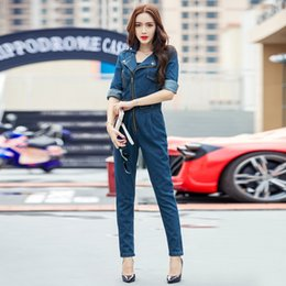 Wholesale Motorcycle Overalls - Wholesale- 2017 New Hot Fashion Women Overalls Zipper Motorcycle Jeans Tooling Womens Half sleeve Denim Jumpsuits Girl Casual Rompers Pants