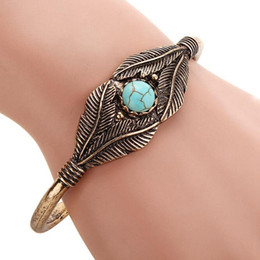 Wholesale Vintage Turquoise Cuff - Free Shipping 1 PC Vintage Gold Silver Alloy Leaf Turquoise Cuff Bracelet Bangles For Women Fashion Feather Jewelry