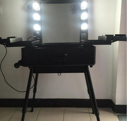 Wholesale Makeup Train Cases - Professional Rolling Makeup Artist Cosmetic Train Case with Lights Mirror and Stand