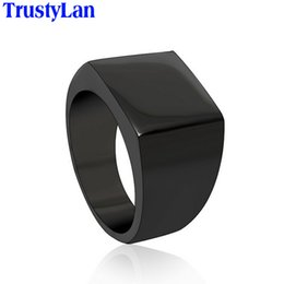 Wholesale Color Fade Ring - Wholesale- TrustyLan Cool Simple Men Ring Never Fade Black Silver Color Stainless Steel Men's Rings Size 12 Fashion Male Jewelry Gift Anel