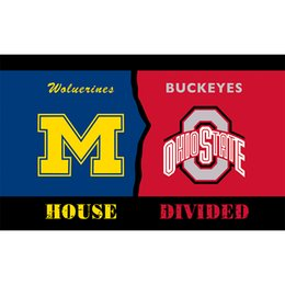 Wholesale Fly Banners - Michigan Wolverines VS Ohio State Buckeyes Flag Stars and Stripes 3x5 FT Banner 100D Polyester Flying Flag US Brass Grommets free shipping