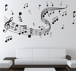 Wholesale Stickers Of The Walls Music Symbol Pattern Wall Paster Diy Hand Painted Wallpaper Art Decoration Sticker Decals Bedroom High Quality lh A R