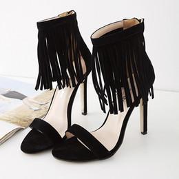 Wholesale black suede fringe - new luxury brand shoes woman gladiator sandals women sandalias chaussures femme ete 2017 high heels sandals women fringe sandals