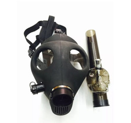 Wholesale Gas Herbs - Black Silicone Water Pipe Gas Mask Skull Silicone Dab Rig Acrylic Bongs for Dry Herb Shisha Pipe