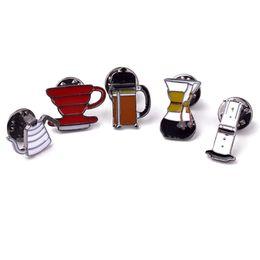 Wholesale Punching Bag Sets - Wholesale- Pin Set Badge Punch Pot AeroPress Chemex Filter Bowl Coffee Enamel Pins Shirt Bag Hat Decoration Jewelry Coffee Lovers Gift