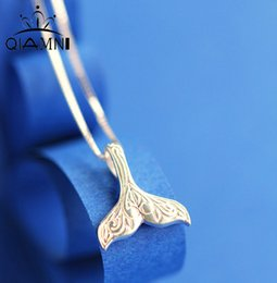 Wholesale Whale Tail - Wholesale- QIMING Wholesale Wedding Jewelry 925 Sterling Silver Whale Tail Fish Nautical Charm Mermaid Tail Silver Necklace Women Neckalces