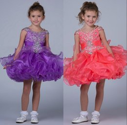 Wholesale Sweetheart Neckline Ruffles Mini - Coral Purple Little Pageant Dress 2016 Sweetheart Off The Shoulder Neckline Beaded Bodice Ruched Layered Organza Skirt Girls Pageant Dress