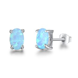 Wholesale Opal Stud Earrings Sterling Silver - Aquamarine Opal Jewelry Blue Fire Opal Stud Earrings 925 Sterling Silver Simulated Diamond Earrings For Women