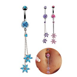 Wholesale Crystal Flower Navel Belly Bar - Pink Zircon Belly Rings Flower Dangle Belly Button Ring Silver Plated Sexy Stainless Steel Body Piercing Jewelry Wedding Bars Navel Rings