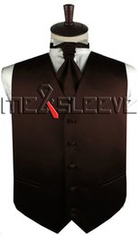 Abotoaduras simples on-line-Venda quente frete grátis plain cor de chocolate vestido de noiva (colete + gravata ascot + abotoaduras + lenço)