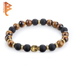 Wholesale Gold Tiger Jewelry - BELAWANG Natural Tiger Eyes&Black Onyx Stone Wrist Men's Bracelet Gold Plated Skull Head Bead Bracelet Fashion Jewelry for Father's Day Gift