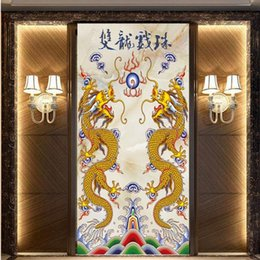 Wholesale Painting Interior Room - Free Shipping 3D Stereo Custom HD Ssangyong Play Beads Marble Background Wall Interior Decoration Painting Wallpaper Mural