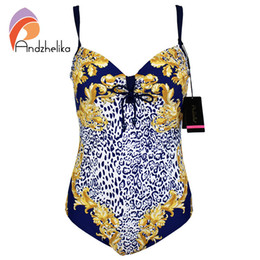 Wholesale Leopard Print One Piece Swimsuit - Andzhelika Plus Size Swimsuit One Piece Leopard Print Bodysuit Large Cup Underwire Swimwear Bathing Suit Monokini L-4XL AK60757
