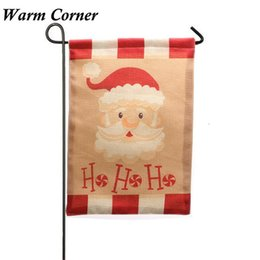 Wholesale Corner Hanging - Wholesale- Warm Corner 1PC New Garden Flag Indoor Outdoor Home Decor Christmas Santa Flag Gift Hanging Flag Festival Free Shipping Sept 29