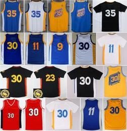 Wholesale Gold Yellows - Hot Sale 35 Kevin Durant Jersey Throwback 9 Andre Iguodala 30 Stephen Curry Shirt Uniform 11 Klay Thompson 23 Draymond Green Blue White