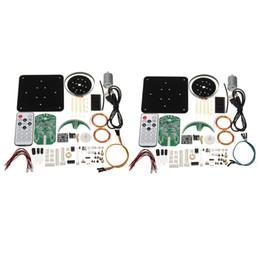 Wholesale Led Clock Diy - Wholesale-DIY Welding Spherical Rotation LED Suite 56 Lamp POV Rotating Clock Parts Kit Blue Red