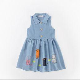 Wholesale Leopard Blue Formal Dresses - 2017 Denim Summer Cotton Cat Girls Dresses Kids Princess Clothing Dresses Lovely Toddler Children cute Clothing Blue Party