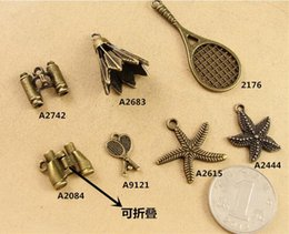 Wholesale Tennis Accessories China Wholesale - Vintage DIY handmade jewelry accessories Starfish Pendant telescope charms, bronze badminton racket tennis sports charm nautical items China
