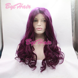 Wholesale Wig Purple Long Dark - Bythair Long Bouncy Lilac Purple Hairstyle Heat Resistant Fiber Wigs Wavy Dark Lavender Glueless Synthetic Lace Front Women Wig