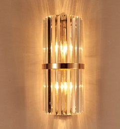 Wholesale Livingroom Lamps - k9 crystal wall sconce bedroom wall lamp with switch livingroom dining bedroom led wall light Conference Hall hotel gold crystal lamps LLFA