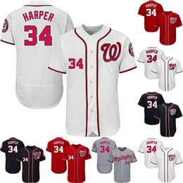 Wholesale Baseball Jerseys Washington - 34 Bryce Harper Trea Turner 28 Werth 31 Scherzer Daniel Murphy Anthony Rendon 11 Zimmerman 37 Strasburg Giolito Washington Nationals Jersey