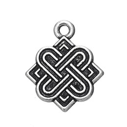 Wholesale Antique Chinese Charm Bracelet - Top Selling Metal Antique Silver Plated Classic lucky Chinese Knot Charms for Necklace or Bracelet Jewelry