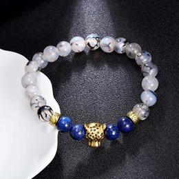 Wholesale Lapis Lazuli Gold Bracelet - 2 Styles 8mm Beaded Bracelet Lapis Lazuli Leopard Head Lion Head 7 Chakra Bracelet Natural Agate Protection Energy Healing Jewelry D208S