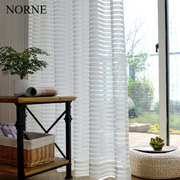 Tessuto pizzo puro online-Norne Modern Tulle Window Tende per soggiorno The Bedroom The Kitchen Cortina (rideaux) Stripe Lace Tende trasparenti Tende in tessuto Tende