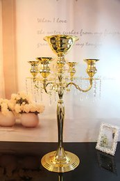 Wholesale Tall Candle Holder Wedding - TMG-1508 Pack of 6 Wedding Party Even Table Centerpiece Flower Stand with Candle Holder ( Color: Gold Size: Dia 43cm Tall:68cm)