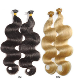 "Wholesale Wholesale Fusion Human Hair Extensions - Free shipping 18""-24"" U tip keratin fusion hair extensions 100g lot 100s body wave brazilian remy human hair befa hair products"