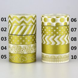 Wholesale Gold Adhesive Paper - Wholesale- 2016 1Roll Gold Color Decorative Washi Tape Gummed Tape Sticky Paper Masking Adhesive Tapes Scrapbook Decorative 10M*15MM
