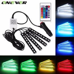 luces de la ciudad de honda Rebajas Luz de tira del RGB LED del coche Luces de tira del LED 16 colores Estilo del coche Lámparas decorativas de la atmósfera Luz interior del coche con el telecontrol
