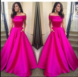 Wholesale Sexy Night Gowns Satin - Hot Fuchsia Pink Prom Dress Off Shoulder Long A Line Night Gown New Arrival Custom Made Party Dresses Formal Evening Dresses