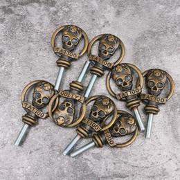 Wholesale Gun Skull Tattoos - Wholesale- Fashion Typle Skull Shape Tattoo Machine Handle Losk Screw Lot of 100pcs Tattoo Gun Tool Screw TG5508
