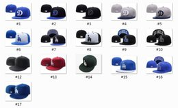 Wholesale Brim Snapbacks - High Quality top Sale Hip Hop Los Angeles Dodgers Baseball Fitted Caps Blue White Blocking Top Blue Brim Letter Sports Team Flat Hats