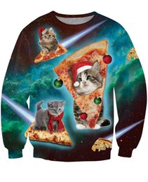 Wholesale Woman S Galaxy Crewneck - Wholesale free shipping New Galaxy Space Christmas Cats Crewneck Sweatshirt 3D Print Pizza Cat Hoodies Women Men Harajuku Sweats Tops Hoodie