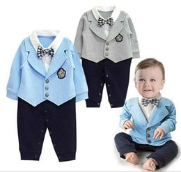 Wholesale Onepiece Jumpsuits - Baby newborn rompers long sleeve cotton gentleman Kids Clothes Boy Onepiece Children Clothing Romper Boys rompers Jumpsuit