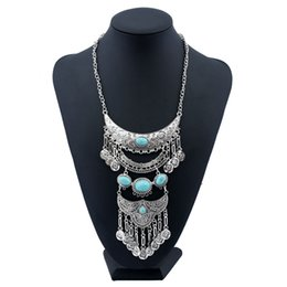 Wholesale Big Coin Necklace - Silver Plated Blue Leaf Necklace New Fashion Multi Layer Bohemian Coin Long Tassel Gem Big Flower Pendant Necklaces for Women Jewelry