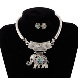 Wholesale Antique Elephant Necklace - Womens Vintage Ethnic Boho Tribal Owl Elephant Jewelry Set retro Antique silver Choker Necklace Torque Earrings Jewelry Sets Wholesale