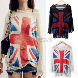 Wholesale Uk Pullover - Wholesale-FUNOC Women Union Jack Uk Flag Distressed Sweater Knit Tops Pullover Jumper Knitwear(Dx92) 3 Color