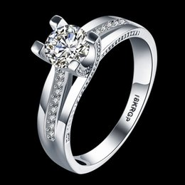 Wholesale 18krgp Gold - New Arrival Fashion Women Wedding Engagement Rings 18KRGP White Gold Plated With Shiny Cubic Zirconia Wholesale Price