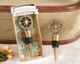 Bouchons de bouteilles de vin en métal en Ligne-Bouchon de bouteille de vin de mariage boussole de guide rétro exquis cadeau de faveur de mariage et cadeaux pour l'invité TE21