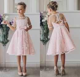 Wholesale Knee Length White Graduation Dresses - Fancy Pink Flower Girl Dress with Appliques Half Sleeves Knee Length A-Line Girls Pageant Gown with Ribbon Bows For Christmas