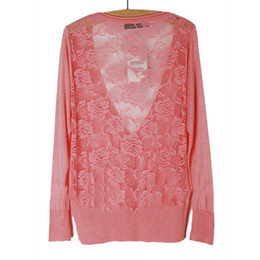 Wholesale Flower Garments Laces - Wholesale- Corchet Flower Cardigans Air Condition Garment Long Sleeve Lace Hollow-out Smock Blouse Button Cardigan Chrug Knitted Sweaters